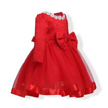 Red Long Sleeve Lace Flower Girls Dress O-Neck Pricess Prom Gowns With Bow 2018 image 2