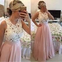 Elegant Hollow Out Lace Chiffon Women Maxi Dress - $46.00
