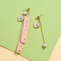 Pink Green Color Enamel Flowers Lace Rope Asymmetry Drop Earrings For Women - $8.78