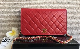 100% Authentic Chanel Vintage Red Quilted Lambskin Classic Full Flap Bag GHW