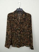 Liz Claiborne Womens 10 Sheer Brown Black Sheer Long Sleeve Button Front... - $13.98
