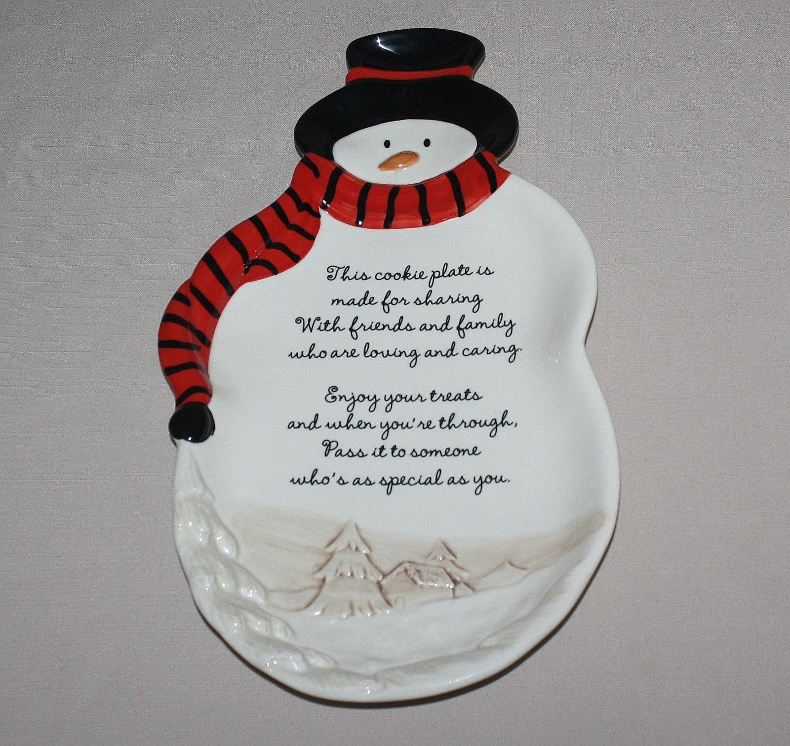 "Primary image for 14"" Snowman Figural Christmas Cookie Plate Grasslands Road 317 461402"