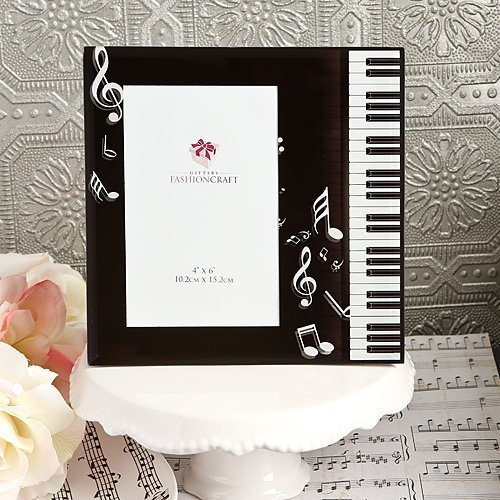 BLACK & WHITE Beveled Glass MUSIC Theme Picture Frame - PIANO KEYBOARD - NOTES - for sale  USA