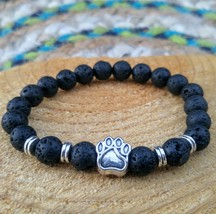 Lava Rock Paw Print Stretch Bracelet - $16.00