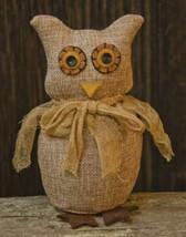 "farmhouse primitive country rustic tan Burlap fabric stuffed OWL 7"" anim... - $21.99"