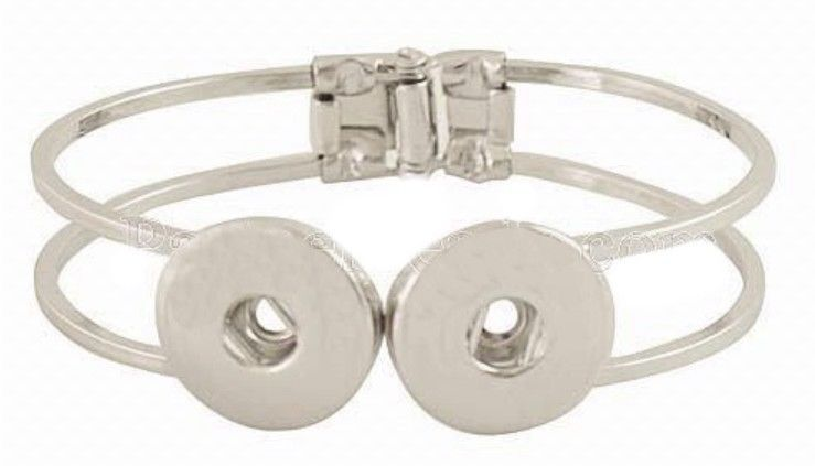 Silver Double 18-20mm Snap Charm Hinge Bracelet For Ginger Snaps Jewelry