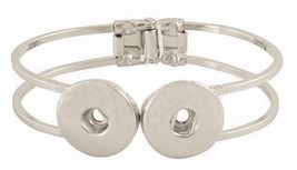Silver Double 18-20mm Snap Charm Hinge Bracelet For Ginger Snaps Jewelry - $8.91