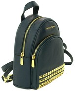 Michael Kors Backpack Bag Abbey Mini Navy Blue Studded Pebbled Leather - $394.79