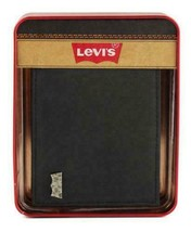 MEN'S LEVI'S PREMIUM CLASSIC LEATHER BLACK BIFOLD WALLET 31LV13A7 W/ DEFECT