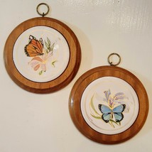 "Napcoware Wood Tile Plaque Lot 2 VTG Butterfly Trivets 5"" Monarch Morpho... - $24.73"
