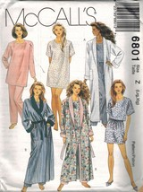 6801 UNCUT McCalls SEWING Pattern Misses Robe Tunic Top Pants Shorts Tie... - $4.89