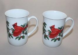 2 Vintage Lefton Mugs 6 Ounces Red Cardinal Bird Holly Christmas Gold Trim 1062 - $19.45