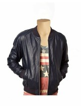Men Leather Stylish Genuine Lambskin Leather Bomber Ribbed leather Jacke... - $160.93