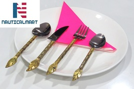 Al-Nurayn Stainless Steel And Brass Spoon Cutlery Set Of 4 By NauticalMart - $99.00