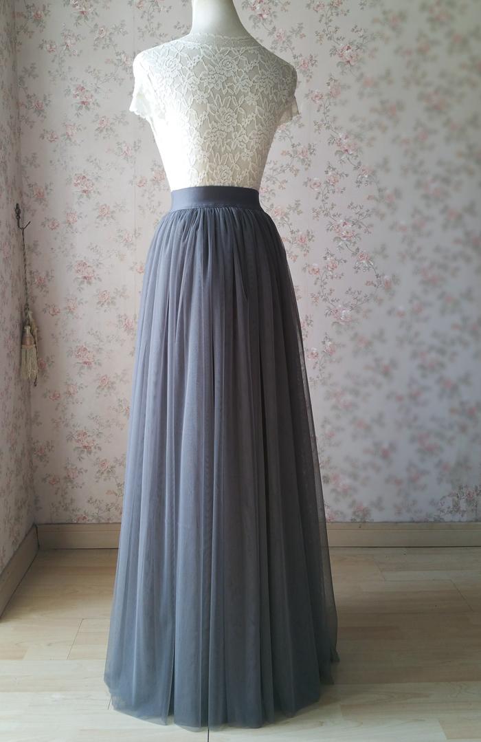 Gray maxi skirt tulle 06