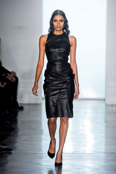 WOMEN LEATHER DRESS GENUINE LAMBSKIN PURE LEATHER SEXY COCKTAIL PARTY DRESS-154