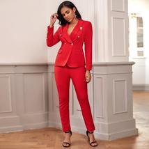2 Piece Set Winter Red Blazer Buttons Pant Set Suit image 2