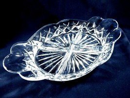 "Clear crystal divided serving dish bowl oval handled  12"" - $41.18"