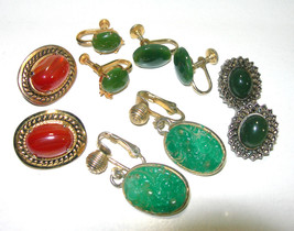 VINTAGE GENUINE JADE, GREEN GLASS, GOLD PLATE, AGATE MIXED EARRINGS LOT - $65.00