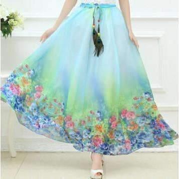 Bohemian Printed Long Chiffon Women Maxi Skirt image 4