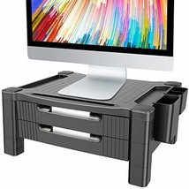 Monitor Stand Riser with 2 Drawers - Adjustable Monitor for Computer, Laptop, Pr