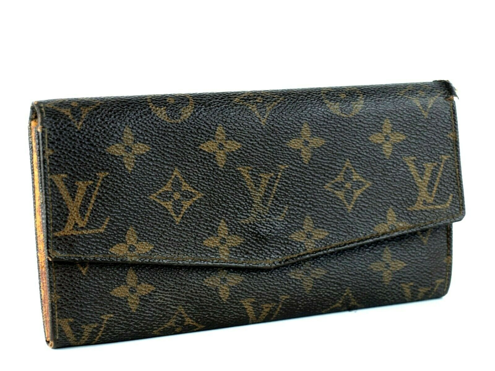 Primary image for Auth LOUIS VUITTON Monogram Leather Bifold Envelope Long Wallet TH822 France