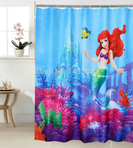 Polyester Terylene Mermaid and Yellow Fish Sea Waterproof Thicken Shower Curtain - $31.92