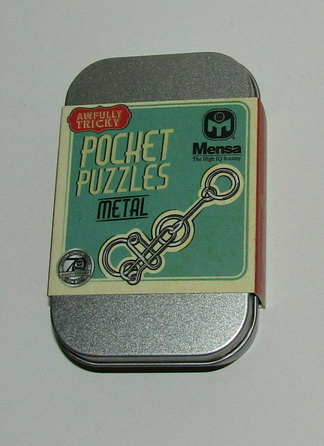 Primary image for Pocket Puzzle Metal New in Tin Case Awfully Tricky 5 Bonus Brainteasers Oblong