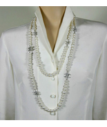 100% Authentic CHANEL Sautoir Classic 6 CC Crystal Logo Pearl Necklace L... - $1,599.99