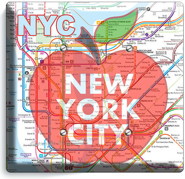 NYC NEW YORK CITY BIG APPLE SUBWAY MAP LIGHT SWITCH OUTLES WALL PLATE ROOM DECOR image 9