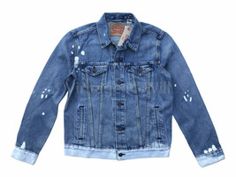 Levi's Mens Faded Blue Bleached Ombre Denim Jean Trucker Jacket Red Tab ... - $74.10