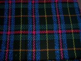 BLACK HOT PINK ROYAL BLUE GOLD RUST TEAL PLAID WOOL FABRIC 2.25yds - $55.00
