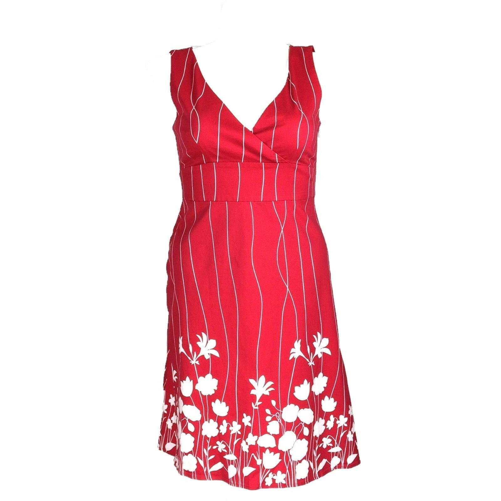 Spense Dress 12 Red White Stripe Silhouette Flower Empire A Line Rockabilly L