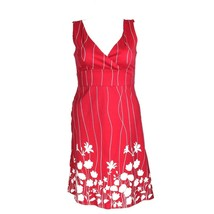 Spense Dress 12 Red White Stripe Silhouette Flower Empire A Line Rockabi... - $14.95