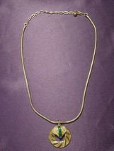 Pegasus Coro Art Deco Necklace Medallion Gold Tone Green Rhinestones - $34.65