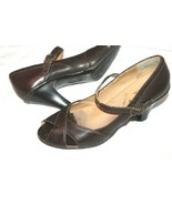 "G.H. Bass Size 8 Peep toe Ankle Strap Pumps Leather Heels 3"" Shoes Brown - $14.85"