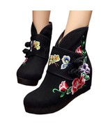 Double Butterfly Vintage Beijing Cloth Shoes Embroidered Boots   black  35 - $40.99