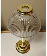 "Partylite gaslight lamp brass glass top shade 14.5"" tall spring candle holder - $16.93"