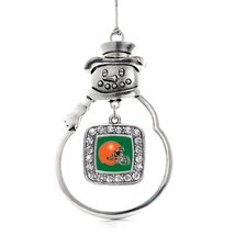 Inspired Silver Green and Orange Team Helmet Classic Snowman Holiday Decoration  - $14.69