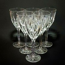 6 (Six) MIKASA APOLLO Cut Crystal Wine Goblets Glasses Height: 7 5/8 in - $118.74