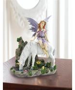 PURPLE FAIRY on White Unicorn Figurine Lavender Glitter Accents Mythical... - $26.65