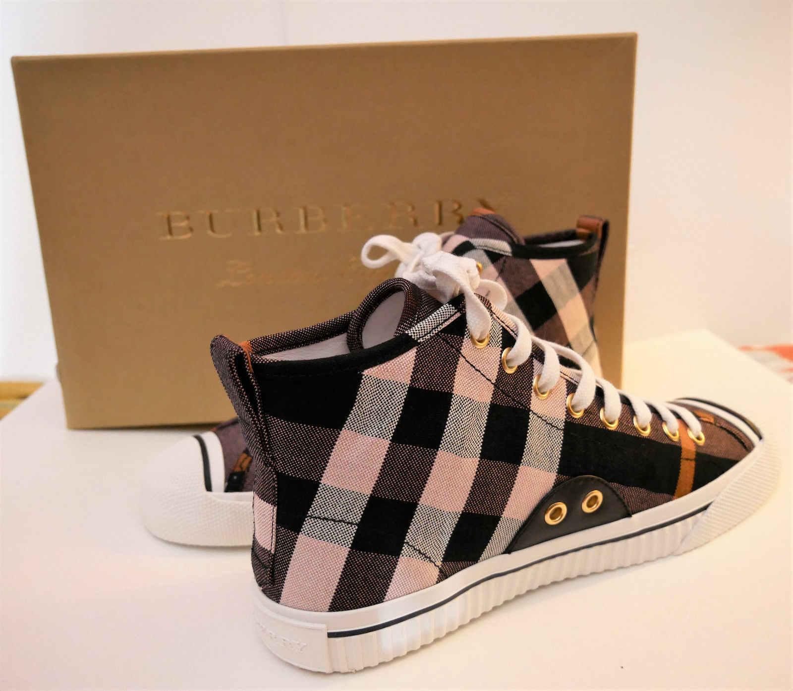 61b22ed274f 57. 57. Previous. Burberry New Women s Check Linen Cotton HighTop Sneaker  Trainers Shoes Size 9