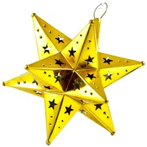 "Small 6.5"" Hanging Tin Yellow Gold Mexican Moravian Star Ornament Decoration image 2"