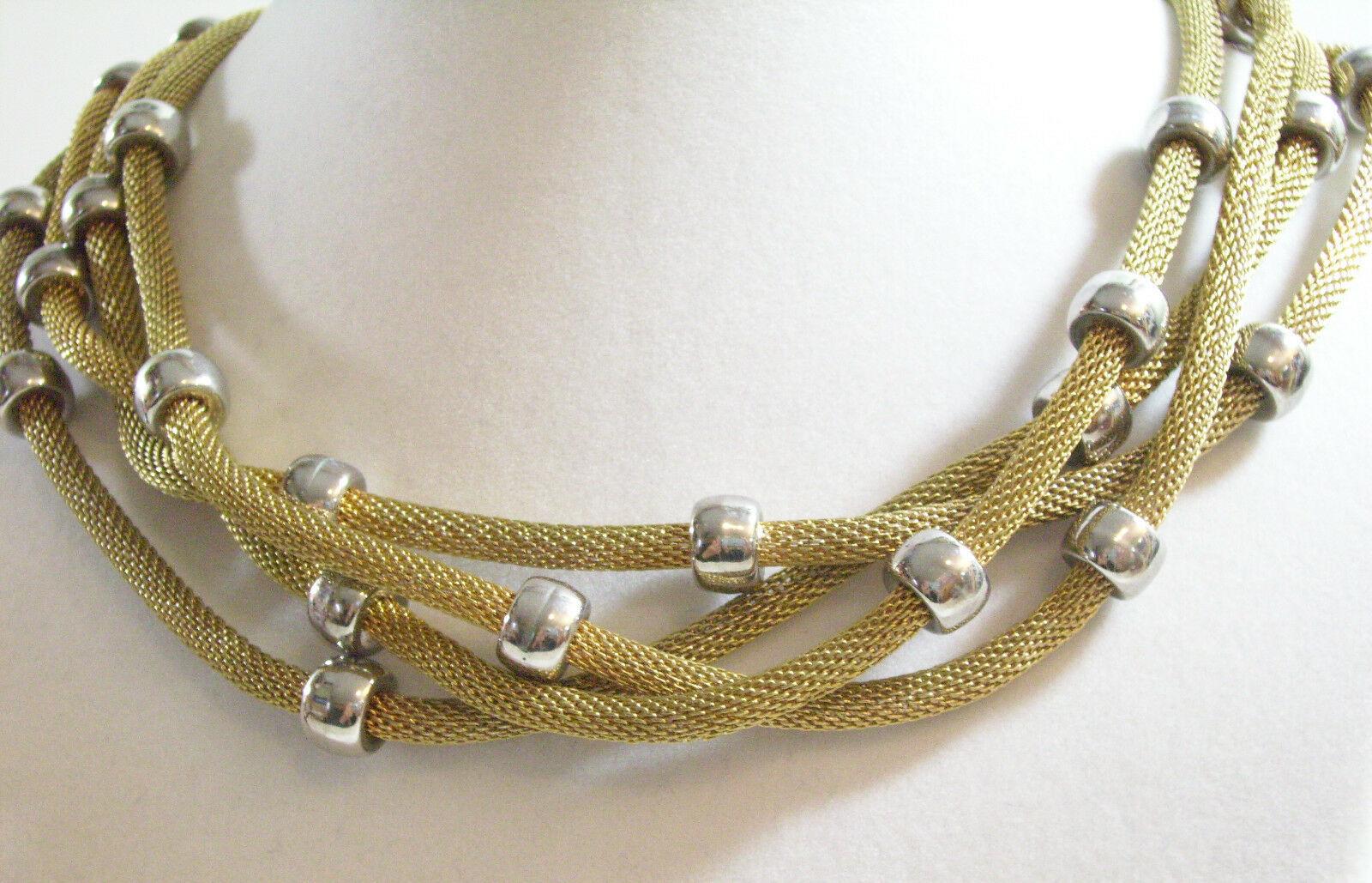 BIJOUX TERNER Gold Tone MESH 3 Strand TWIST Choker Necklace Silver Beads Vintge