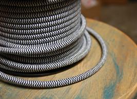 ZigZag Black/White Cloth Covered 3-Wire Round Cord, 18ga Vtg Chevron Lam... - $1.59