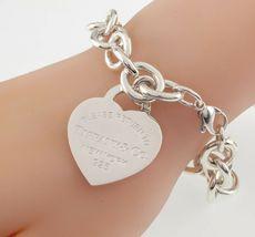 """Tiffany & Co. Plata de Ley """"Retorno a """"Corazón Etiqueta Pulsera Grande Talla W/ image 4"""