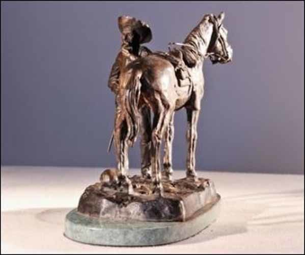 Trooper Thanatopis Inspired by Frederic Remington Solid Bronze Statue Large