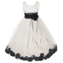 Ivory Satin Bodice Layers Tulle Skirt Black Flower Ribbon Brooch and Petals - $48.00