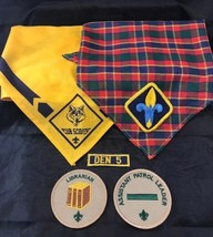 BSA Boy Scouts Cub Scouts Neckerchief Bandanna Plaid And Yellow With Patch Lot - $16.82