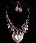 Hippie Heart Necklace - Chunky Goddess choker set - purple chandelier ea... - $95.00